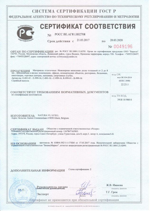 natura сертификат